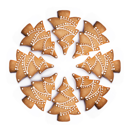 Sweet Food「Cookie shaped as Christmas Trees in a circle」:スマホ壁紙(14)