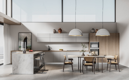 Domestic Kitchen「Digitally generated image of a modern kitchen with dining table」:スマホ壁紙(10)