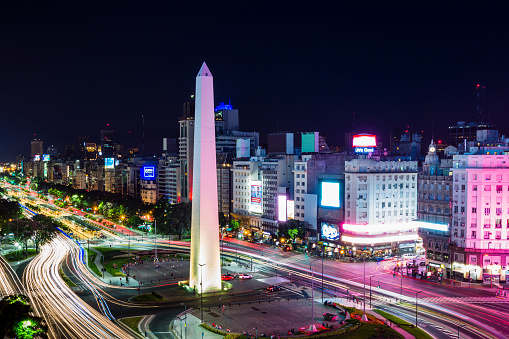 Buenos Aires「A city landmark, obelisk on Ave 9 de Julio, night」:スマホ壁紙(11)