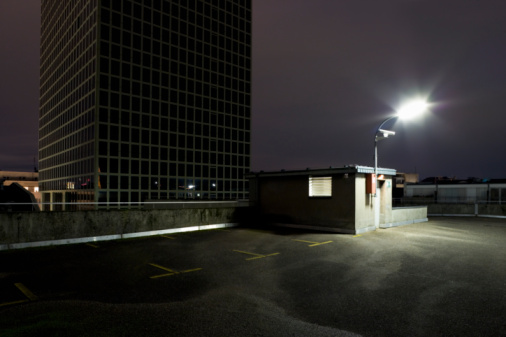 Parking Lot「Top floor of multi storey car park at night」:スマホ壁紙(3)