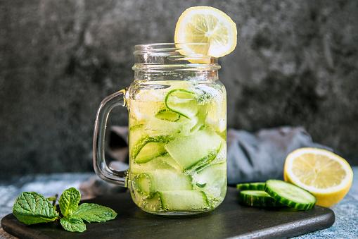 Mint Leaf - Culinary「Detox water, cucumber water, lemon, mint in a glass」:スマホ壁紙(15)