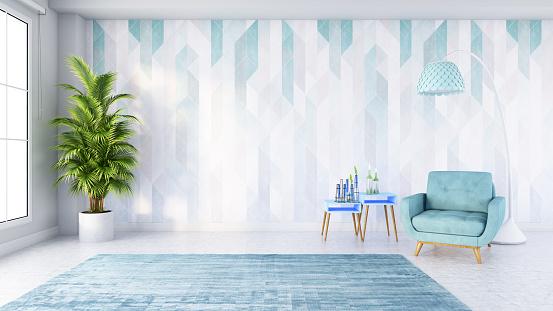 Velvet「Modern Living Room with Blue Armchair Cabinet and Lamp」:スマホ壁紙(4)
