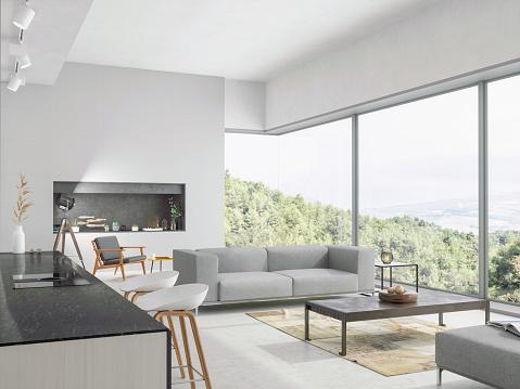 集合住宅「自然の景色を望むモダンなリビングルームとキッチンインテリア」:スマホ壁紙(18)