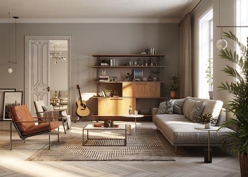 Art and Craft Product「Modern living room 3D Rendering」:スマホ壁紙(8)