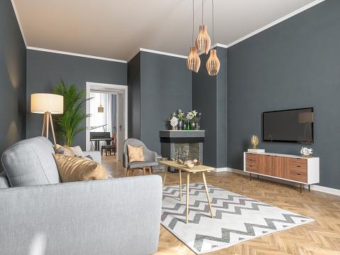 Home Improvement「Modern Living Room with Smart Tv」:スマホ壁紙(6)