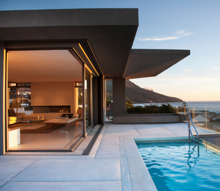 Poolside「Modern living room and patio next to swimming pool」:スマホ壁紙(3)
