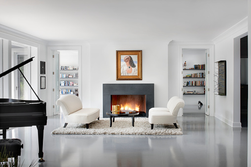 Domestic Life「Modern Living room with fire place, Chicago IL」:スマホ壁紙(0)