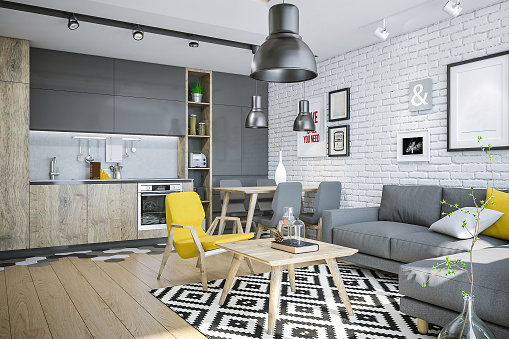 Hostel「Modern living space with kitchen and yellow details」:スマホ壁紙(19)
