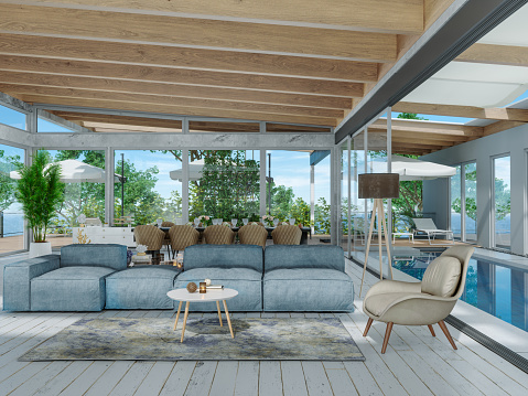 Mansion「Modern Living Room And Dining Room With Swimming Pool」:スマホ壁紙(17)