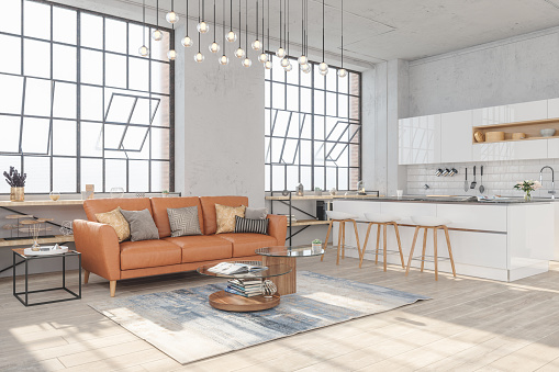 Loft Apartment「Modern living room interior with hardwood floors and view of kitchen in new luxury home」:スマホ壁紙(11)