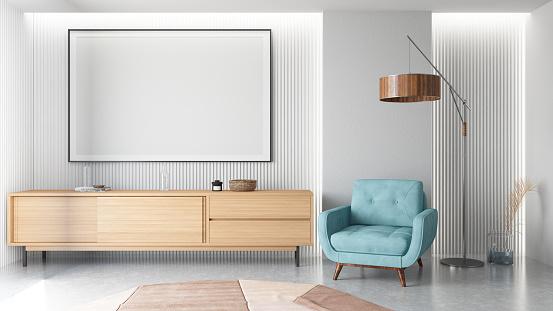 Coffee Table「Modern Living Room Interior with Empty Frame」:スマホ壁紙(16)