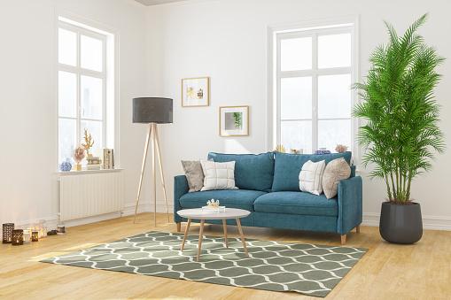 集合住宅「快適なソファ付きモダンなリビングルームインテリア」:スマホ壁紙(8)