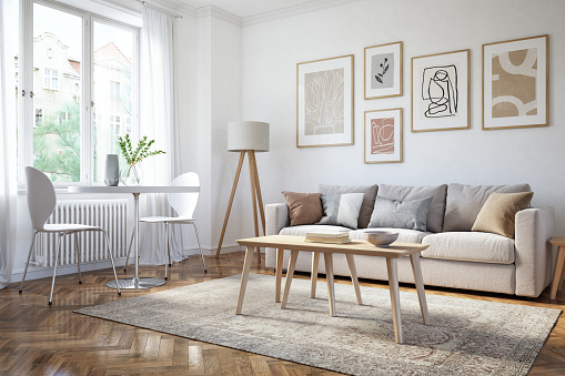 Vase「Modern living room interior - 3d render」:スマホ壁紙(12)