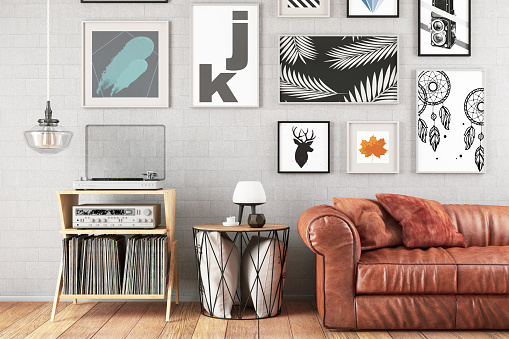 Arts Culture and Entertainment「Modern Living Room with Sofa and Frames」:スマホ壁紙(6)