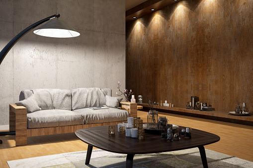 Branch - Plant Part「Modern Living Room with Sofa and SpotLights」:スマホ壁紙(14)