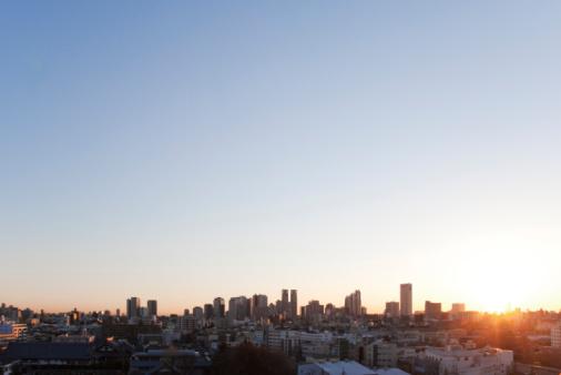 Tokyo - Japan「Office buildings in the morning, copy space」:スマホ壁紙(7)