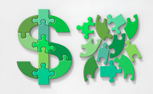Currency Symbol「Dollar currency jigsaw puzzle, complete and in pieces」:スマホ壁紙(3)