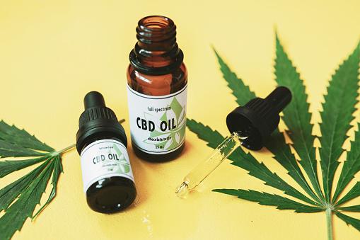 Legal System「CBD oil, Cannabis oil on yellow background.」:スマホ壁紙(18)
