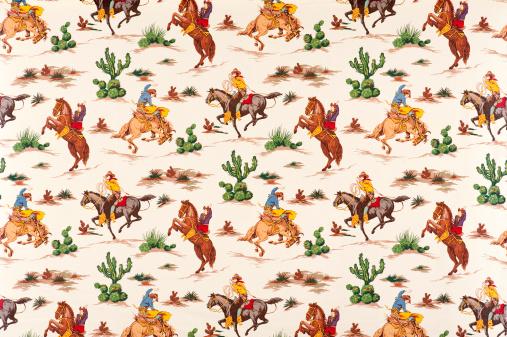 Horse「Cactus Cowboys Vintage Fabric」:スマホ壁紙(17)