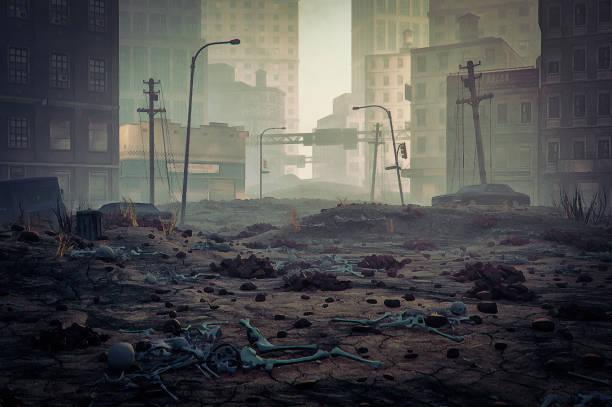 Post apocalypse destroyed city street:スマホ壁紙(壁紙.com)