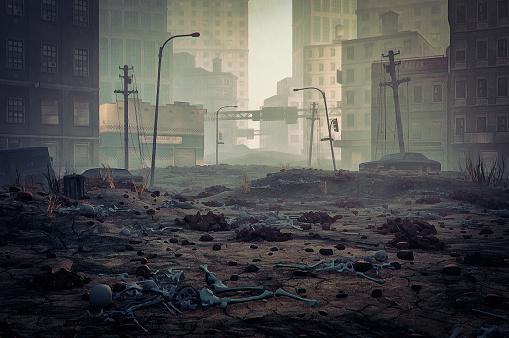 Grunge Image Technique「Post apocalypse destroyed city street」:スマホ壁紙(17)
