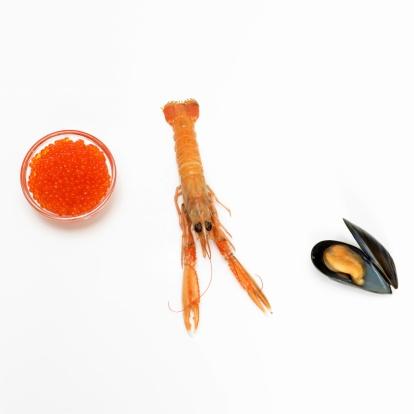 背景「Prawn, mussel and bowl of red caviar, elevated view」:スマホ壁紙(8)