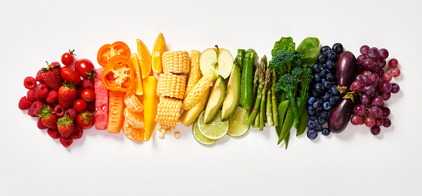 Broccoli「Colour spectrum strip of fruit and vegetables.」:スマホ壁紙(10)