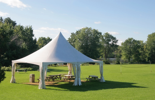 Entertainment Tent「Small Marquee Tent with picnic tables in a park」:スマホ壁紙(7)