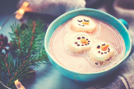 snowman「Christmas preparations of a marshmallow snowman for the hot chocolate」:スマホ壁紙(18)