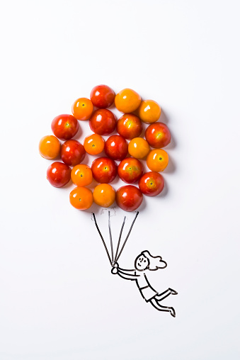 Female Likeness「Concept sketch of girl holding balloon with tomato」:スマホ壁紙(16)