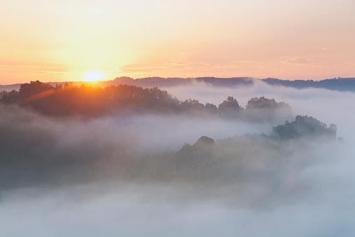 Mystery「Germany, Saxony, morning mist at Elbe Sandstone Mountains」:スマホ壁紙(19)