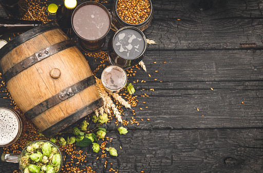 Recipe「Barrel and Glass beer with Brewing ingredients.」:スマホ壁紙(15)