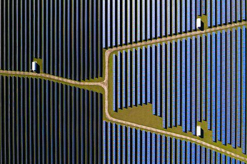 Business Finance and Industry「Solar Power Station, Aerial View」:スマホ壁紙(16)