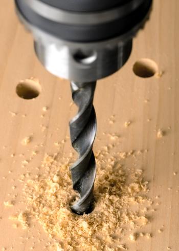 Hole「Drill Press and Twist Bit Boring Into Wood」:スマホ壁紙(11)