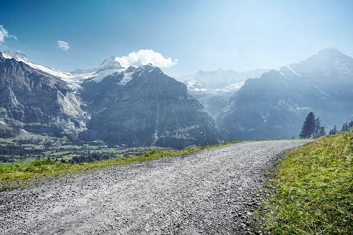Switzerland「Gravel road through mountain range」:スマホ壁紙(8)
