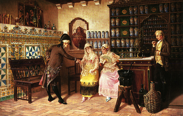 1880-1889「Medical Practitioner takes a Lady's pulse in a Pharmacy」:写真・画像(1)[壁紙.com]