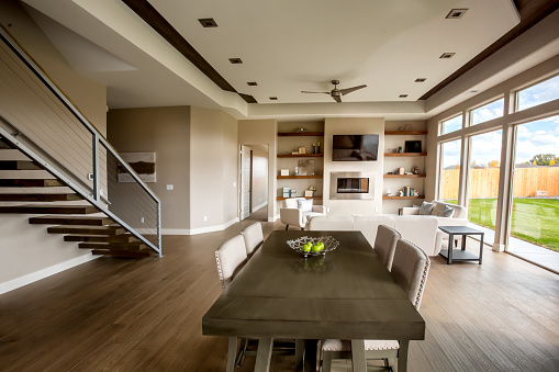 Customized「Clean Modern Comfortable New Home Interior Kitchen and Dining Room」:スマホ壁紙(14)