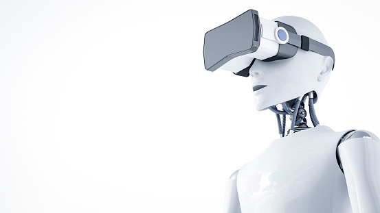Artificial Intelligence「3D Rendering, Roboter with virtual reality glasses」:スマホ壁紙(15)