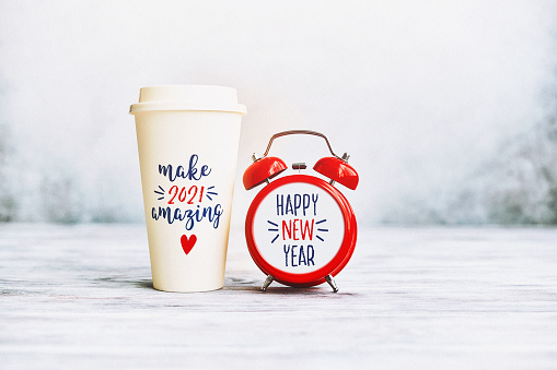 Calligraphy「Make 2021 Amazing. Happy New Year Background with Clock and Coffee Cup」:スマホ壁紙(6)