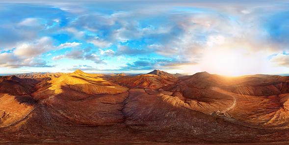 Canary Islands「360x180 degree full spherical (equirectangular) aerial panorama of desert landscape in Fuerteventura, Canary Islands」:スマホ壁紙(19)