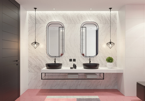Glamour「Contemporary bathroom with light pink honeycomb tiles」:スマホ壁紙(18)
