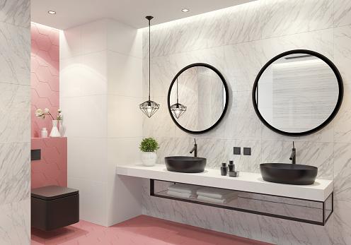ピンク色「現代的なバスルーム ライト ピンク ハニカム タイル」:スマホ壁紙(14)