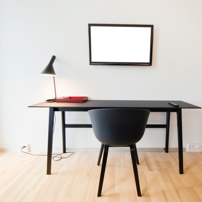 Black Color「Contemporary desk with tv on office」:スマホ壁紙(14)