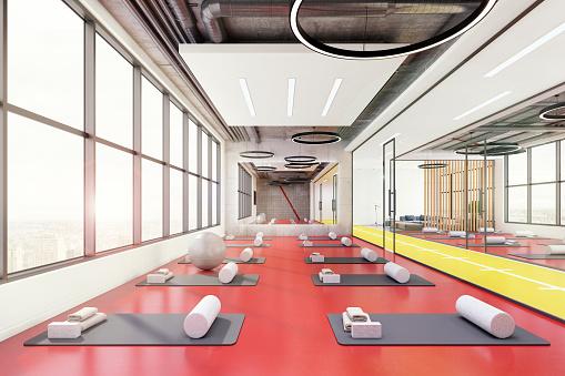 Pilates「Contemporary yoga room interior」:スマホ壁紙(14)