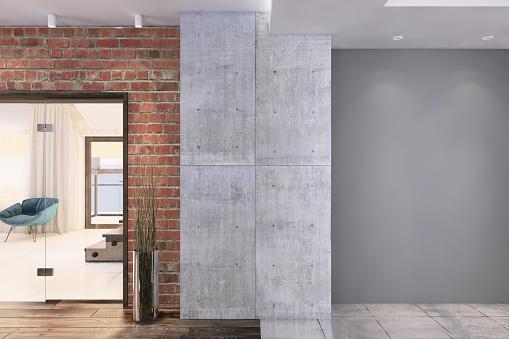 Architectural Column「Contemporary apartment interior with big grey wall」:スマホ壁紙(8)
