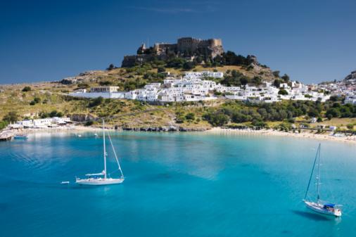 Greek Islands「Lindos with beach + Acropolis」:スマホ壁紙(13)