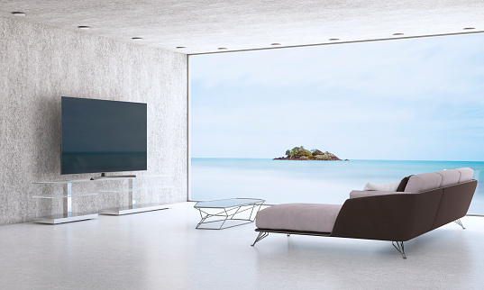 Projection Screen「Minimalist Living Room With Sea View」:スマホ壁紙(18)