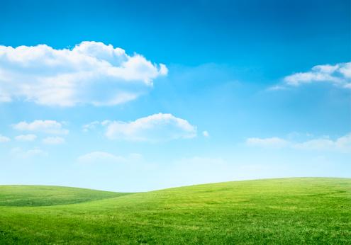 自然の景観「デジタル合成緑の牧草地、ブルースカイ」:スマホ壁紙(11)