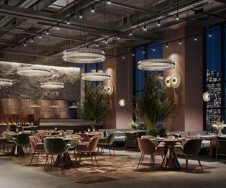 Luxury Hotel「3D rendering of a luxury restaurant interior at night」:スマホ壁紙(7)