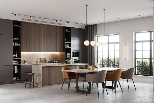 Loft Apartment「3D rendering of a kitchen and dining area in a living room」:スマホ壁紙(13)